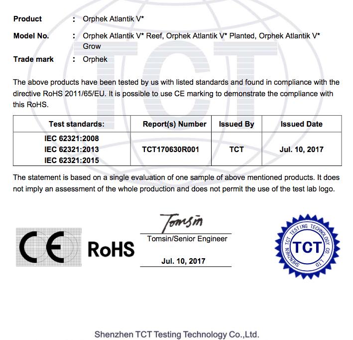 Orphek CE認證