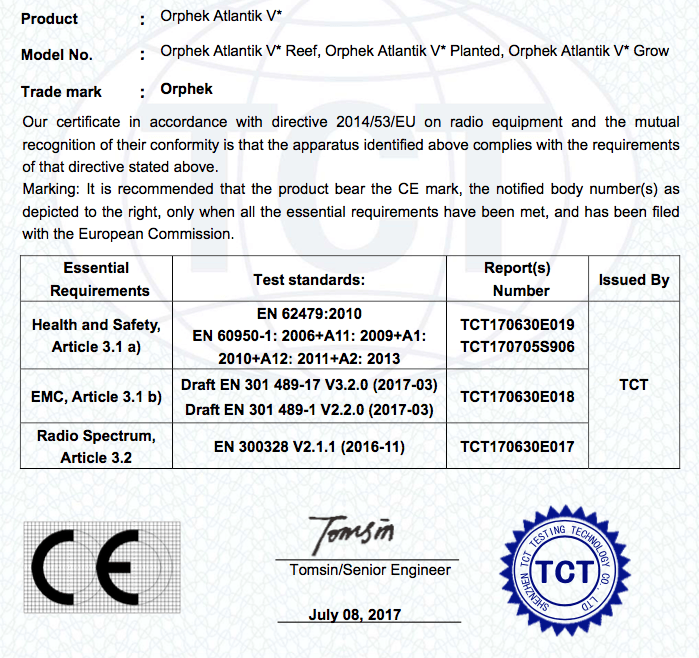 orphek Atlantik CE認證