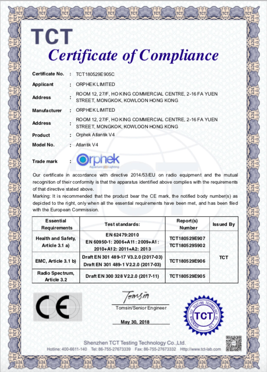 Certificado Orphek Atlantik V4 CE-RED