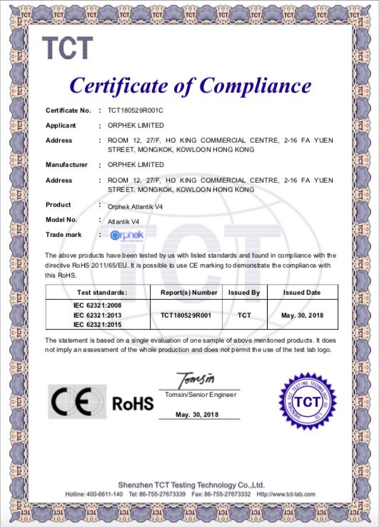 Certificado Orphek Atlantik V4 ROHS