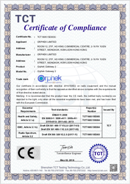 Certificado Orphek Gateway 2 CE-RED
