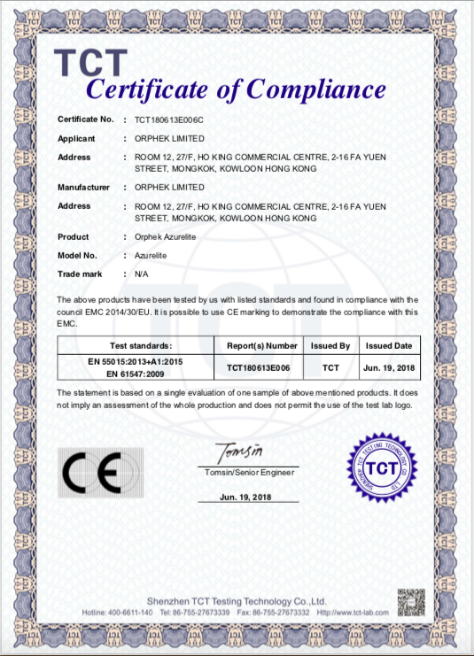 Azurelite blue LED Flashlight- certificazione