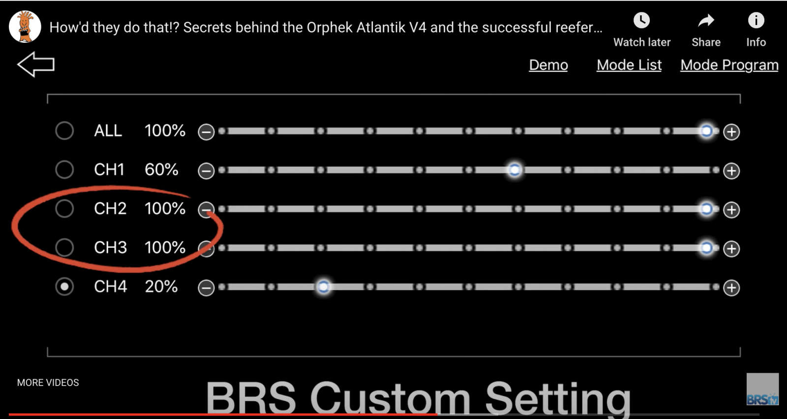 BRS Recommended settings of all channels